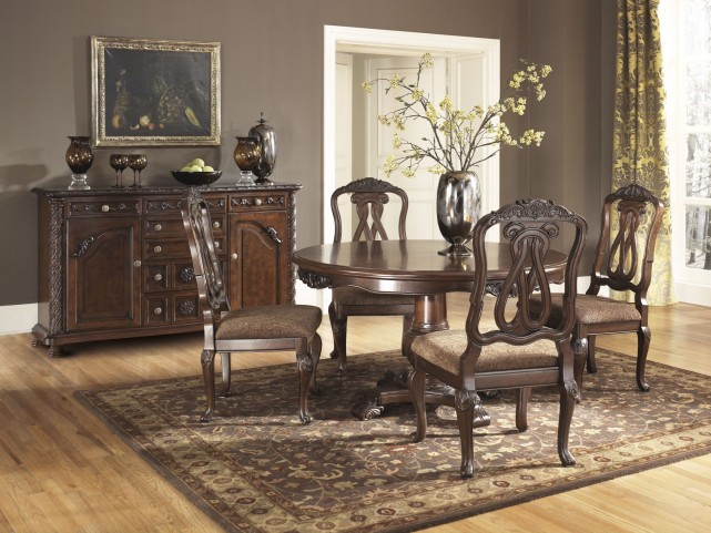 north shore round pedestal dining room set ashley furniture d553 50