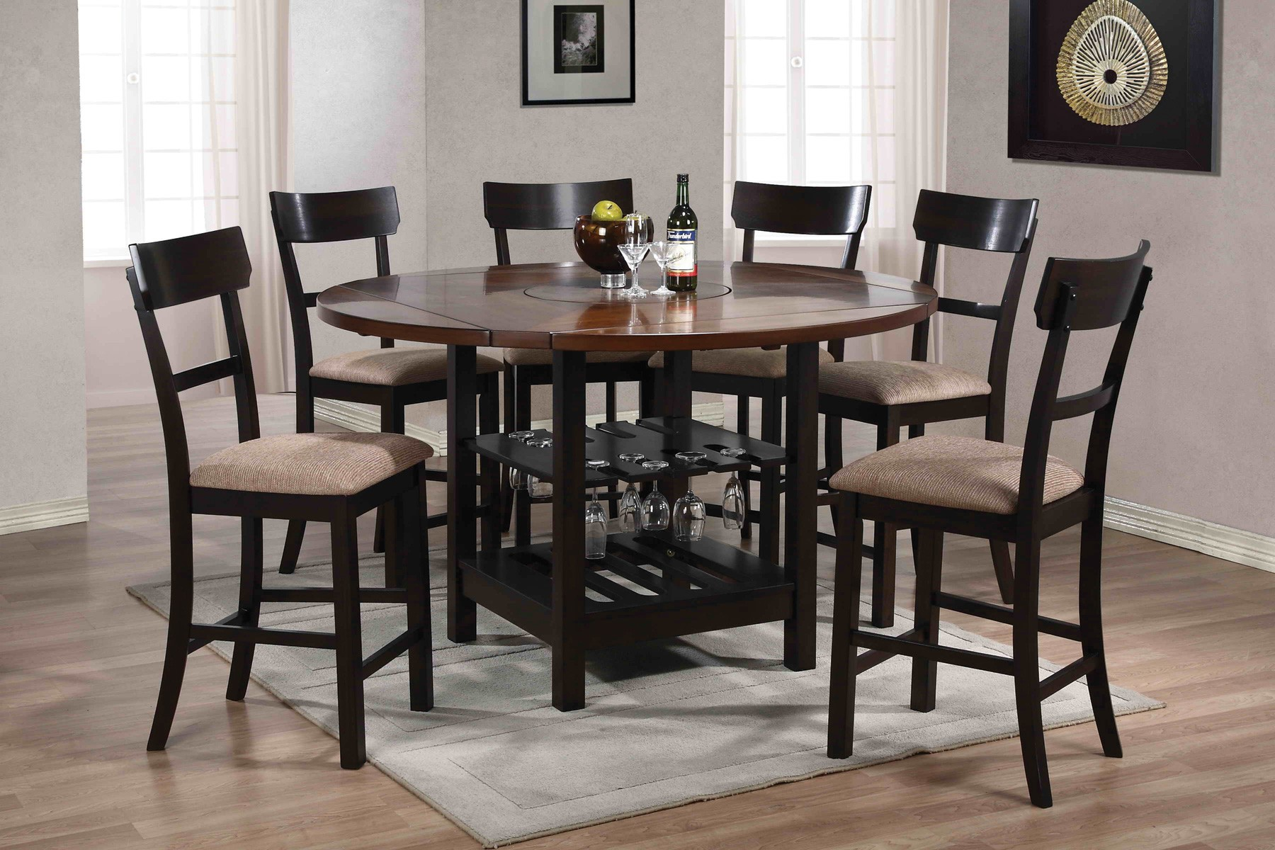 cantrell light dark walnut counter height dining room set