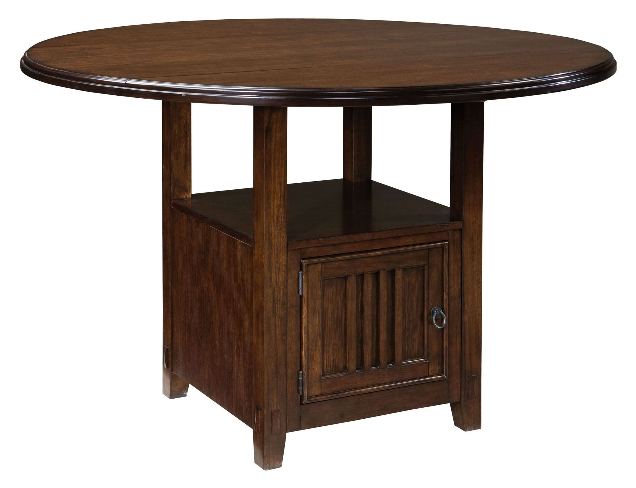 sonoma warm medium oak round drop leaf counter dining room set 11906