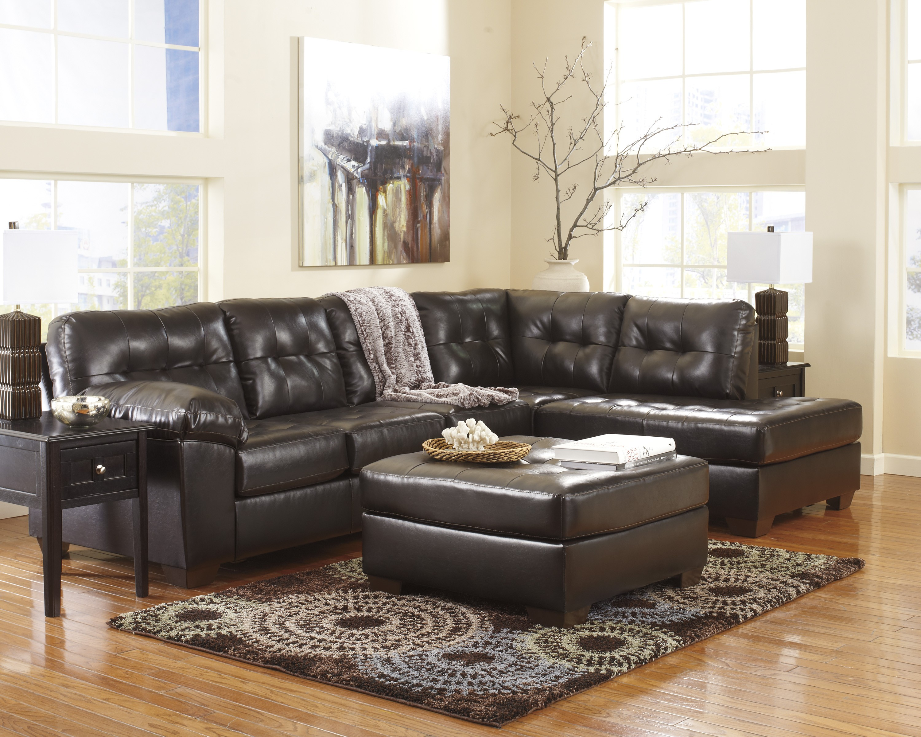 Alliston DuraBlend Chocolate Right Arm Facing Sectional ...