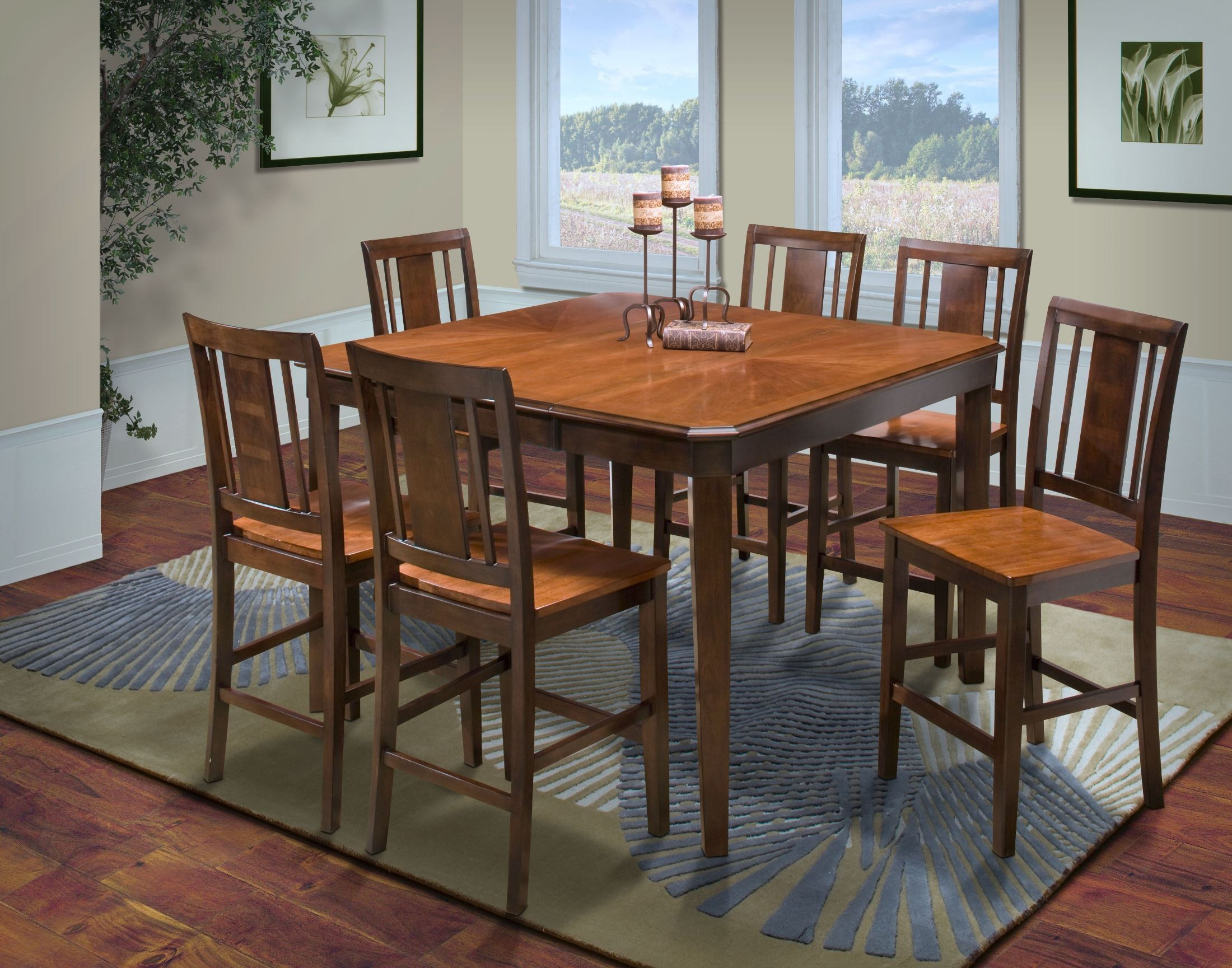 Counter Height Corner Dining Set : ... Ginger/African Chestnut Cut Corner Counter Height Dining Room Set
