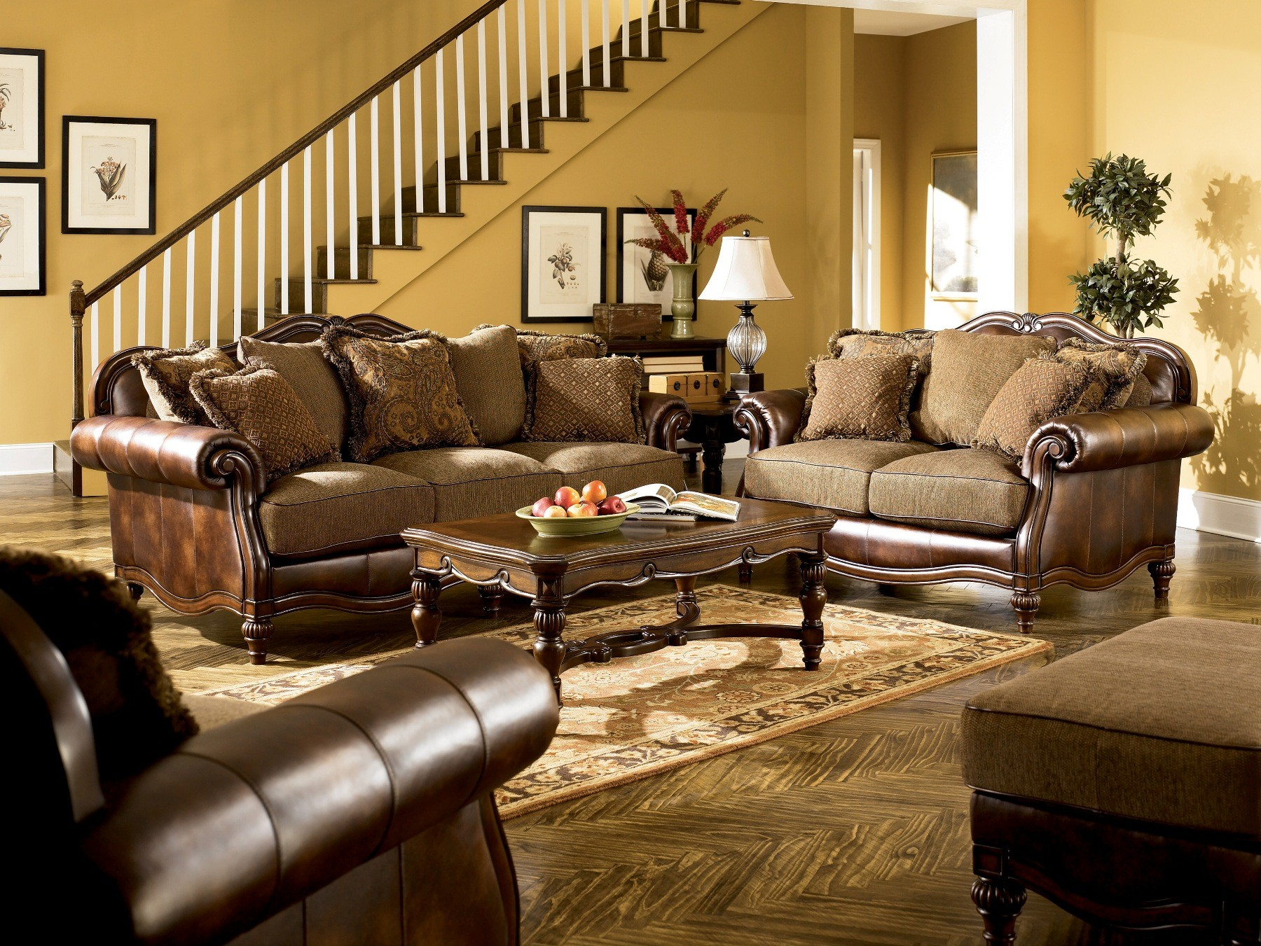 Ashley claremore antique living room set for Traditional living room furniture