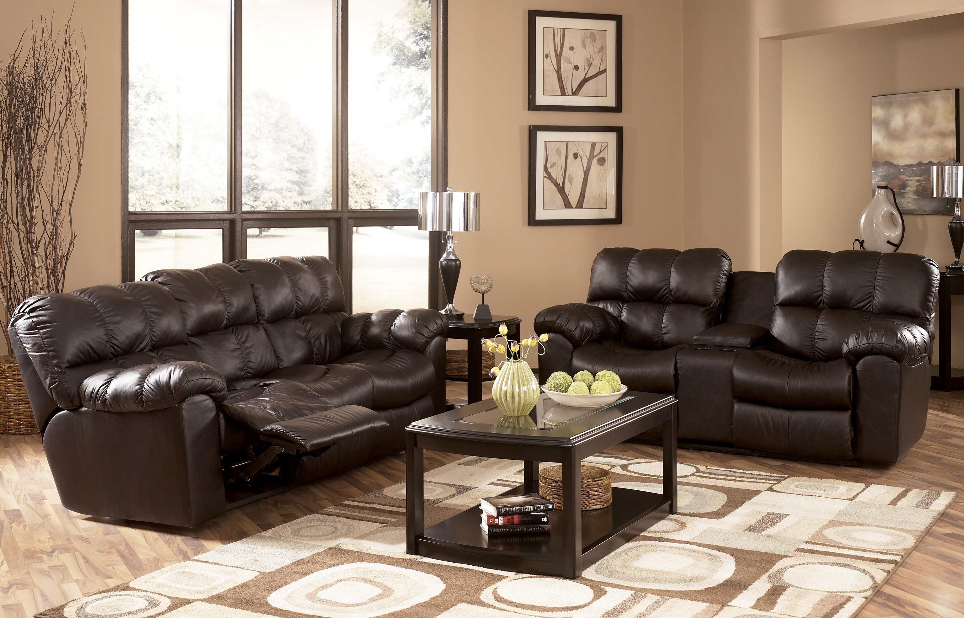 Max chocolate reclining living room set by ashley for Living room ideas ashley furniture