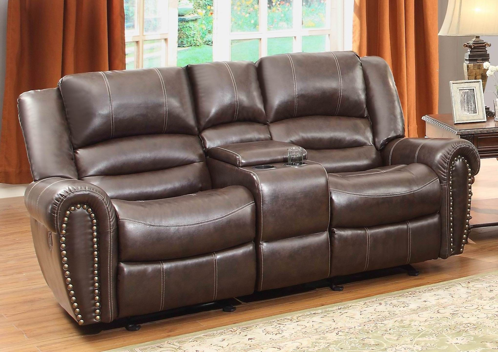 Center hill brown double glider reclining loveseat with console 9668brw 2 homelegance Reclining loveseat with center console