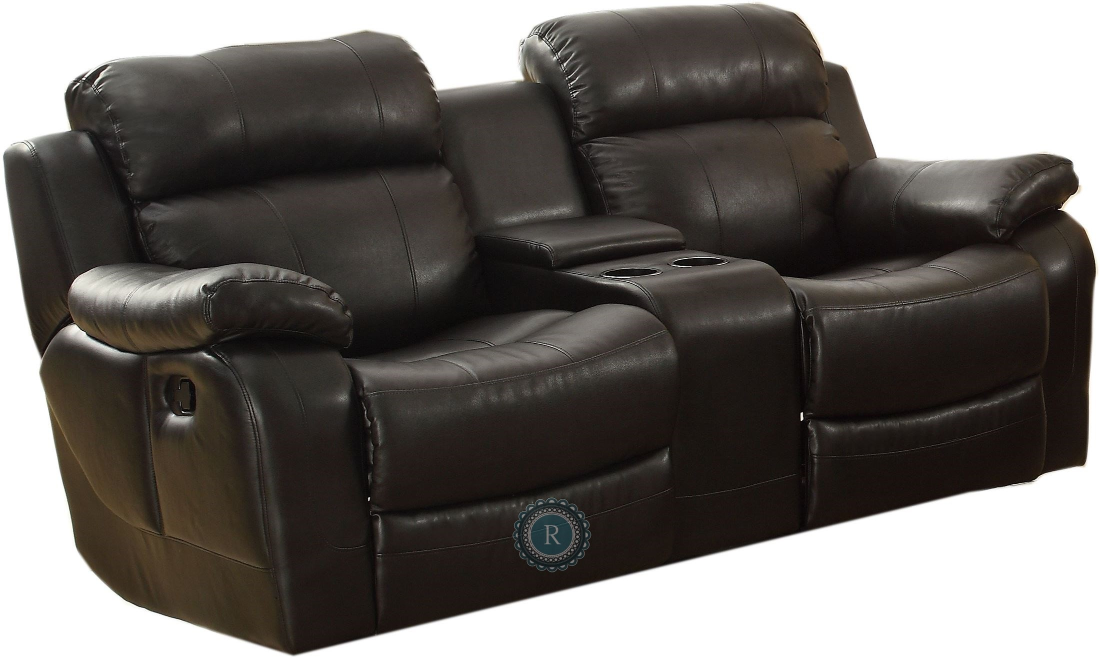 Marille black double glider reclining loveseat with center console 9724blk 2 homelegance Reclining loveseat with center console