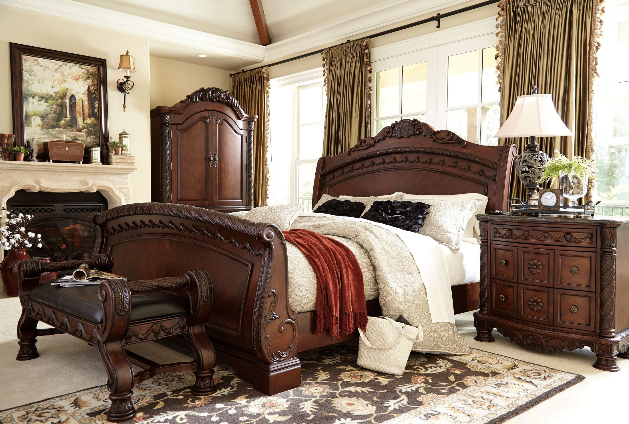 North shore cal king sleigh bed ashley furniture b553 - King size sleigh bed bedroom set ...