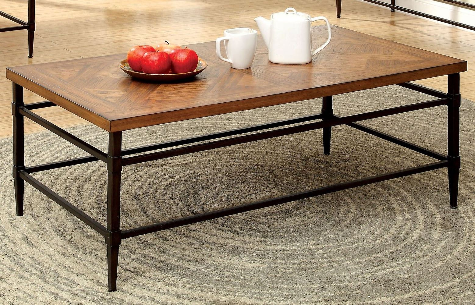 Herrick light oak coffee table cm4221c furniture of america Light oak coffee tables