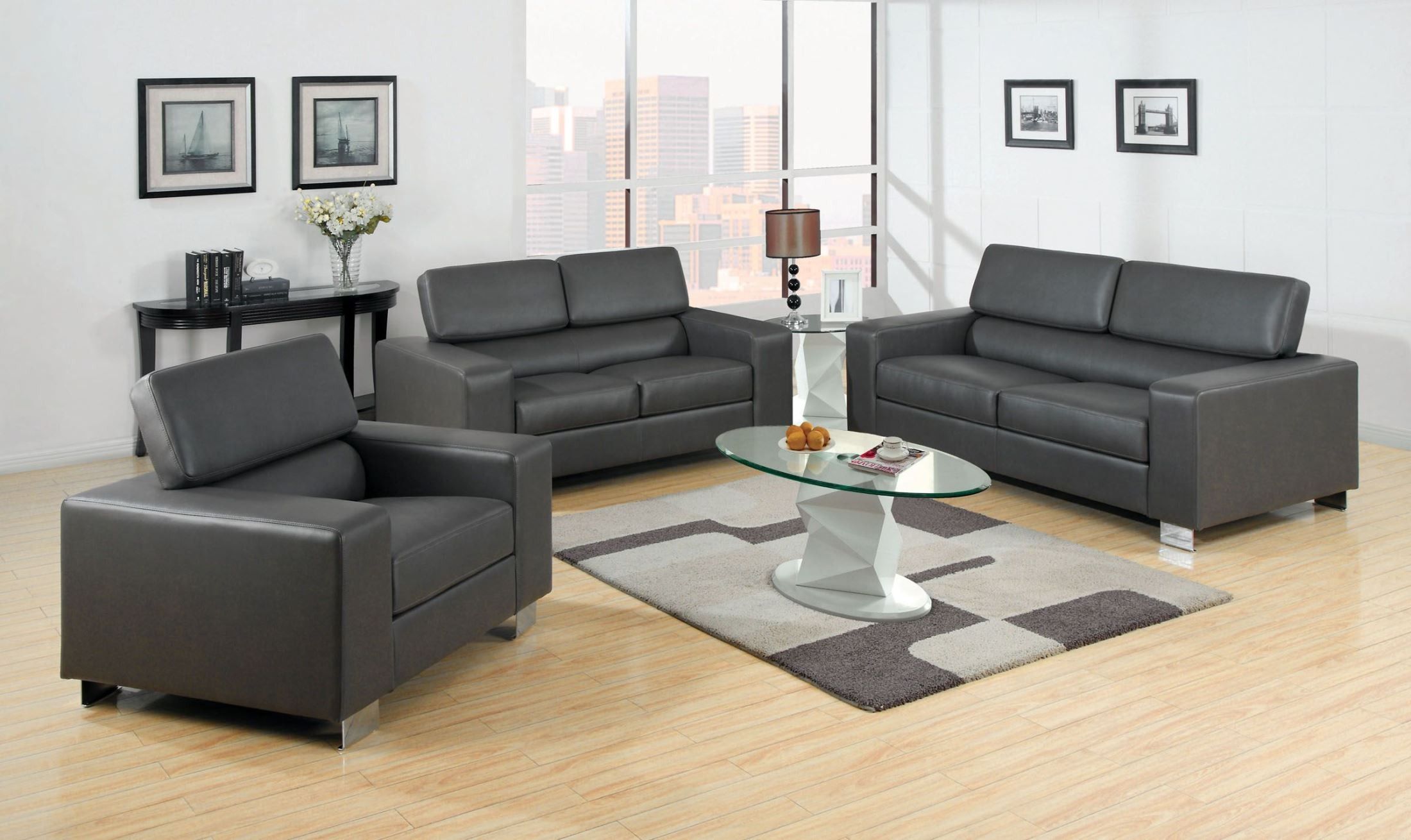 Makri gray bonded leather match living room set cm6336gy for M s living room furniture