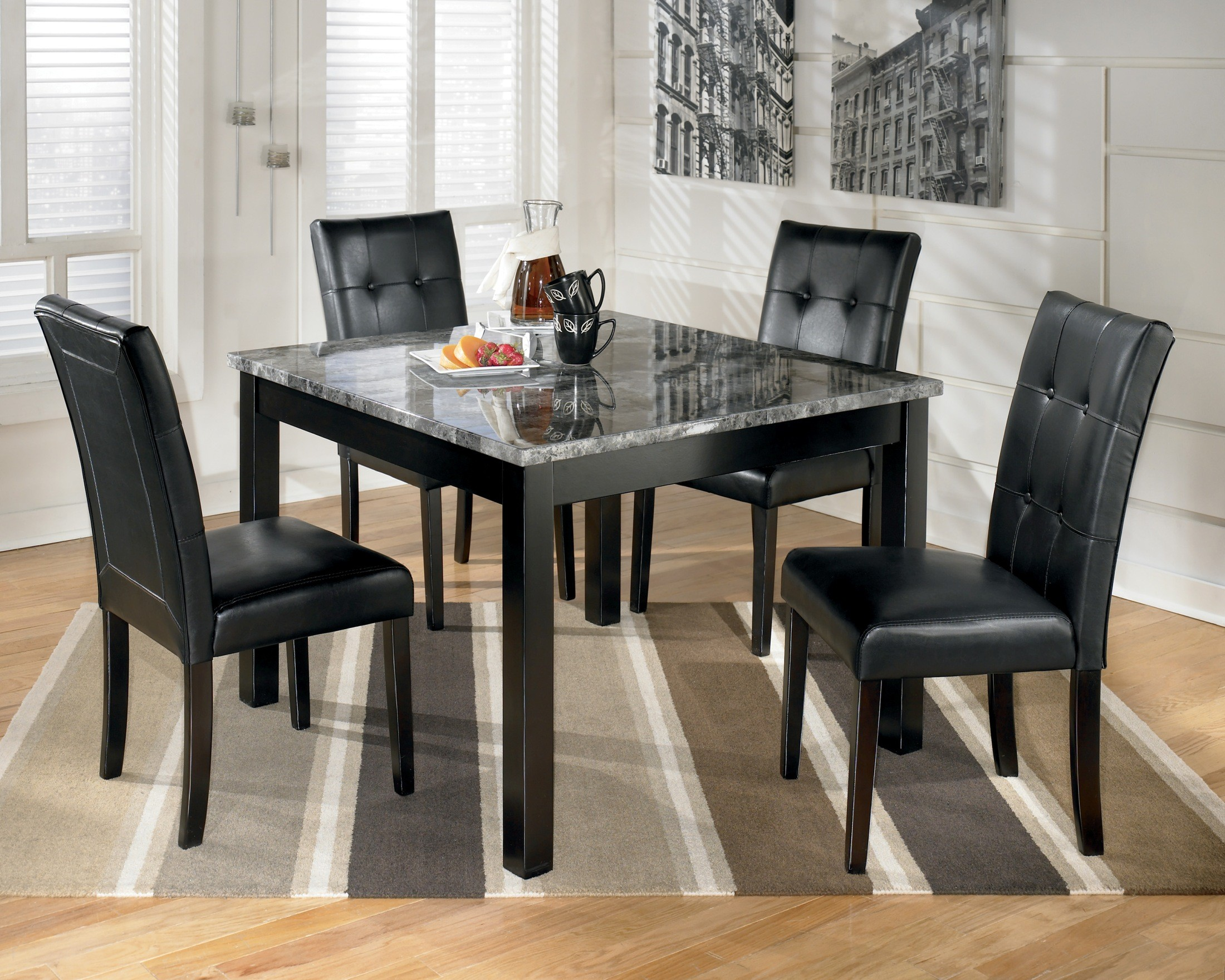 Maysville square dining room table set d154 225 ashley for Square dining room table