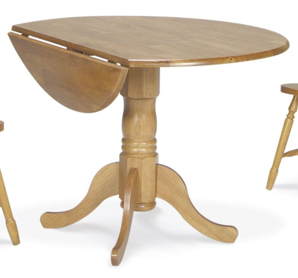 dining essentials oak 42 round drop leaf dining table