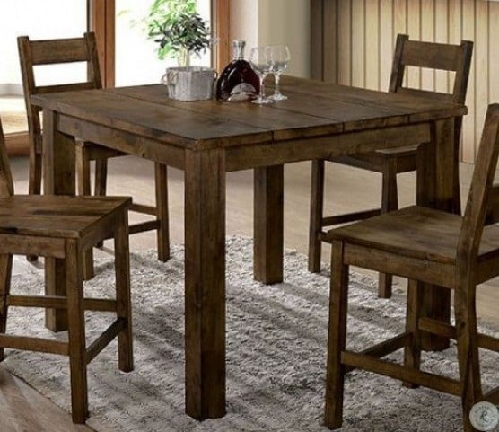 Rustic Oak Counter Height Dining Table