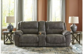 Cranedall Quarry Power Reclining Loveseat with Console and Power Headrest