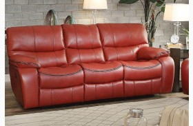 Pecos Red Finish Double Reclining Sofa