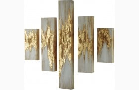 Devlan Gold and White Wall Art Set of 5
