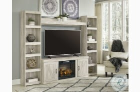 Bellaby Whitewash Entertainment Wall With Fireplace